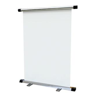 Carrinho de banner em branco isolado no fundo branco