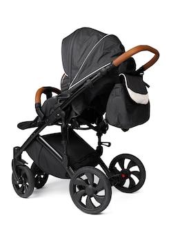 Carrinho de bebê preto isolado