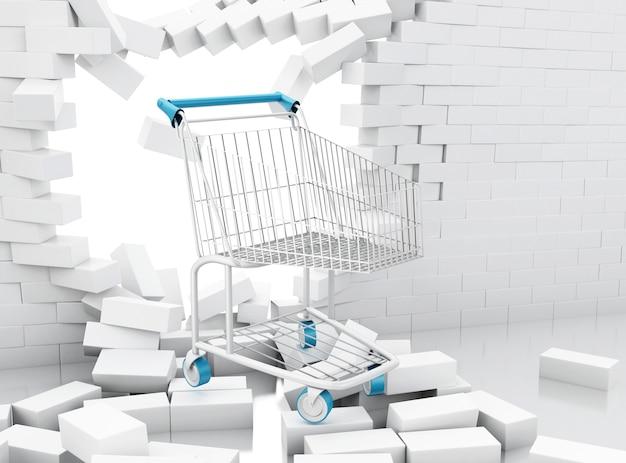 Carrinho de compras 3d rompendo uma parede de tijolos