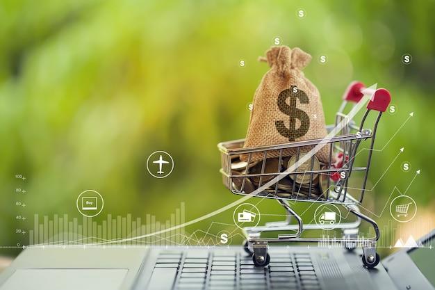 Carrinho de compras - carrinho e moedas, sacos de dólar americano no teclado do notebook com investimento empresarial de crescimento de gráfico. despesa, compras e conceito financeiro e bancário.