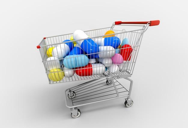 Carrinho de compras cheio de comprimidos e cápsulas em branco. 3d render