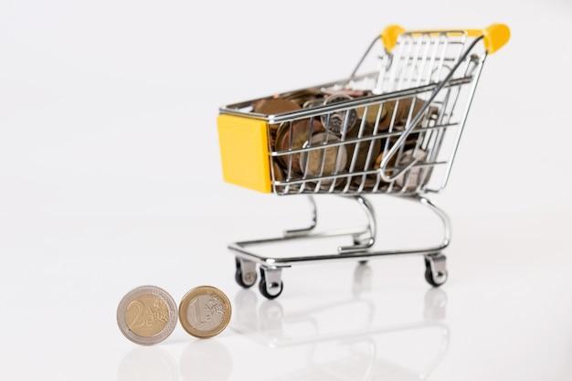 Carrinho de compras cheio de moedas múltiplas