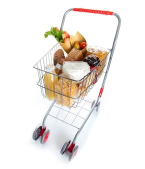 Carrinho de compras cheio de produtos alimentícios