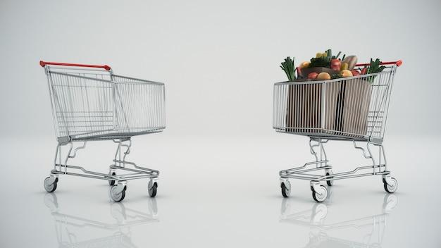 Carrinho de compras cheio de produtos