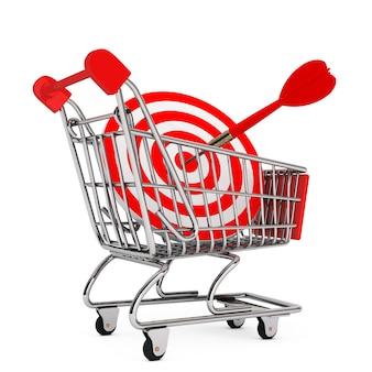 Carrinho de compras com alvo como dardos em um fundo branco. renderização 3d.