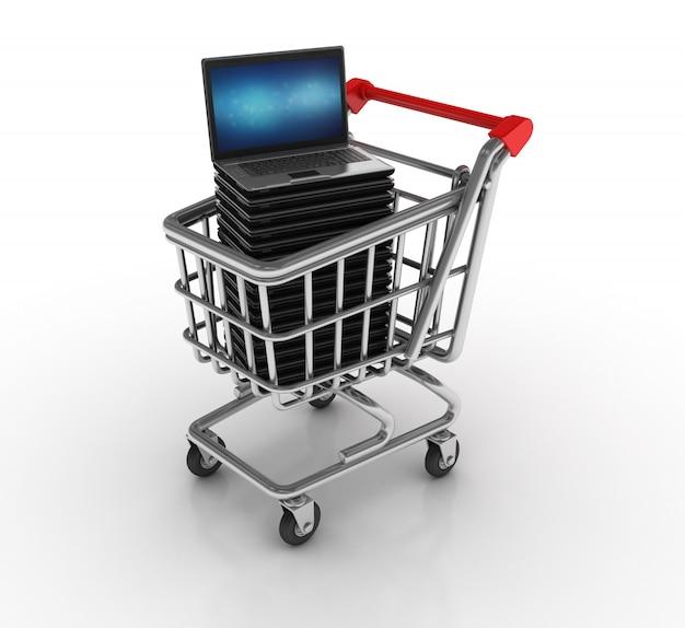 Carrinho de compras com computador portátil