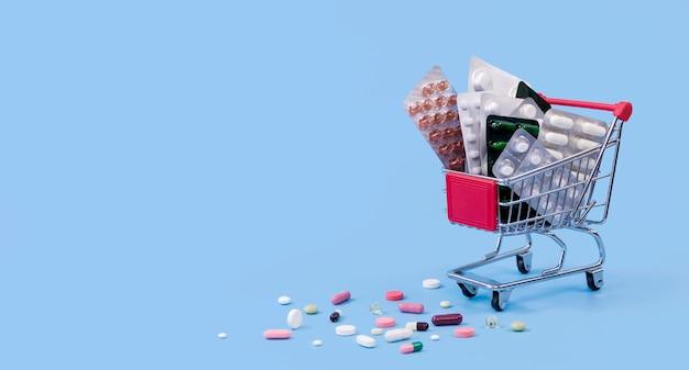 Carrinho de compras com folhas de pílula e espaço para texto