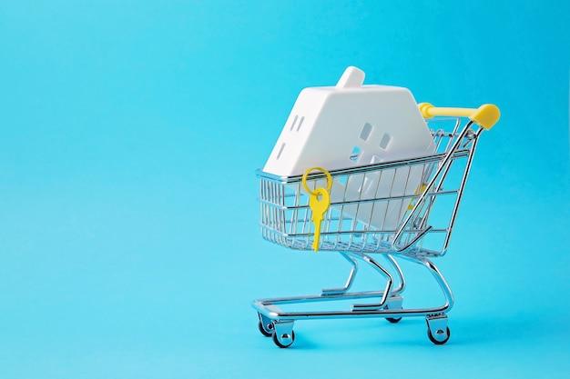 Carrinho de compras com mangueira em miniatura dentro. compra de casa, empréstimo bancário, conceito de agência imobiliária