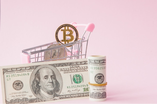 Carrinho de compras com moeda bitcoin e dólares rosa