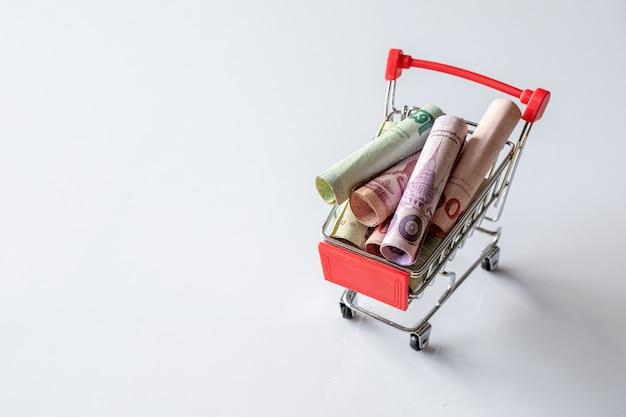 Carrinho de compras com o dinheiro dentro