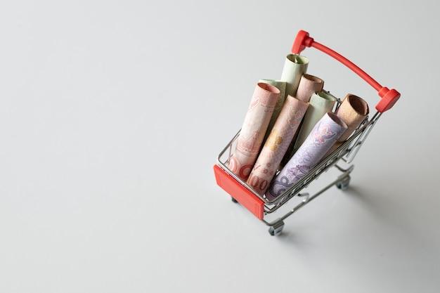 Carrinho de compras com o dinheiro (dinheiro tailandês) em fundo branco