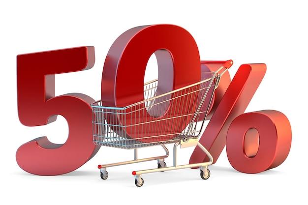 Carrinho de compras com sinal de 50 por cento de desconto ilustração 3d isolado