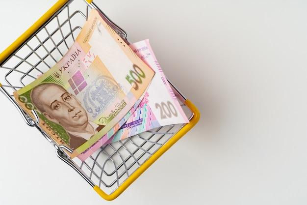 Carrinho de compras de brinquedo com dinheiro hryvnia ucraniano. poder de compra e conceito de salário mínimo