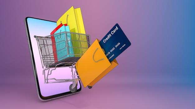 Carrinho de compras de ejetado de um telefone celular com muitas sacolas de compras e cartão de crédito., serviço de transporte de pedidos de aplicativos móveis online e compras online e conceito de entrega., renderização 3d.
