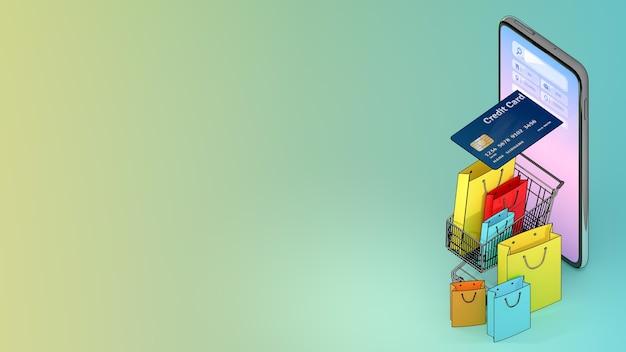 Carrinho de compras de ejetado de um telefone celular com muitas sacolas de compras