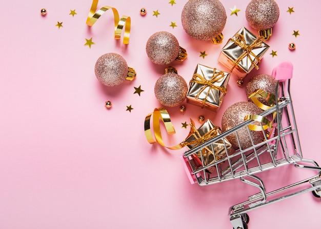 Carrinho de compras de natal