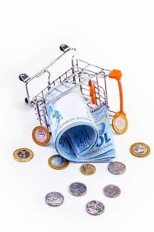 Carrinho de compras de supermercado caído no chão, com dinheiro brasileiro espalhado pelo chão. conceito de inflação, crise no varejo e setor alimentício