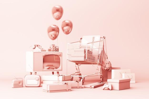 Carrinho de compras de supermercado em torno de giftbox com cartão de crédito e muitos gadgets em rosa