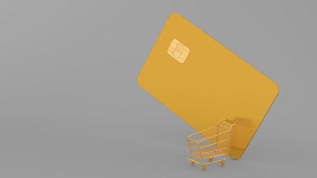 Carrinho de compras dourado e cartão de crédito em um fundo cinza, renderização 3d, renderização 3d, ilustração 3d