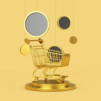 Carrinho de compras dourado em um pedestal dourado com suspensão de círculos abstratos em um fundo amarelo. renderização 3d