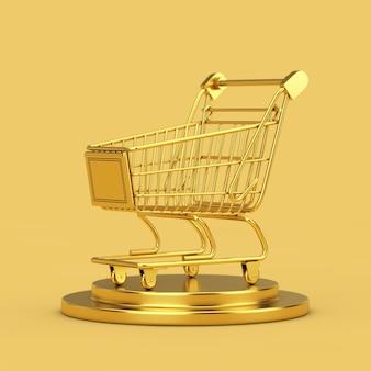 Carrinho de compras dourado em um pedestal dourado sobre um fundo amarelo. renderização 3d