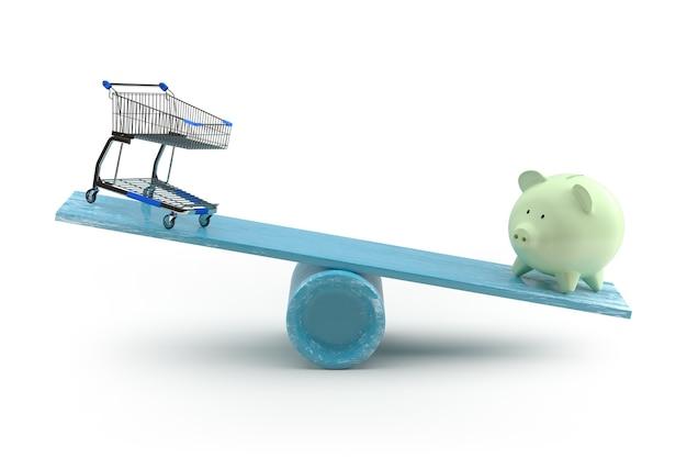 Carrinho de compras e cofrinho desequilibrando em uma gangorra. renderização 3d