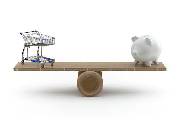 Carrinho de compras e cofrinho equilibrando-se em uma gangorra. renderização 3d