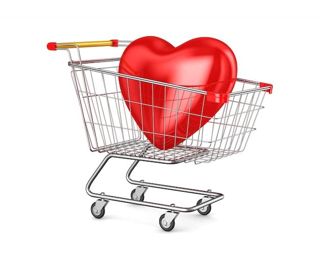 Carrinho de compras e coração no espaço em branco. ilustração 3d isolada Foto Premium
