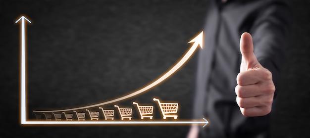 Carrinho de compras e gráfico de crescimento. aumento nas vendas