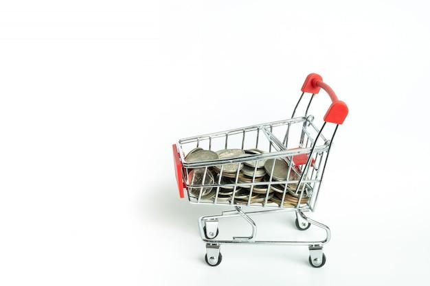 Carrinho de compras e moeda