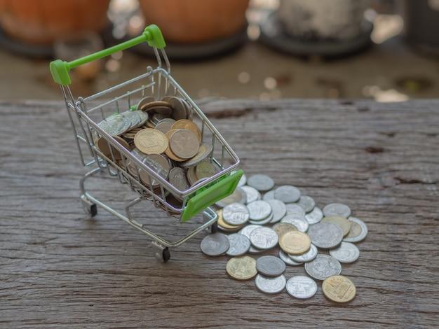 Carrinho de compras e pilha de moedas