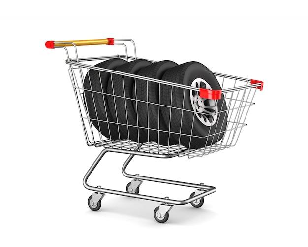 Carrinho de compras e pneus no espaço em branco. ilustração 3d isolada