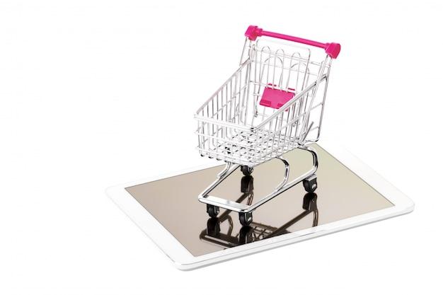 Carrinho de compras e tablet