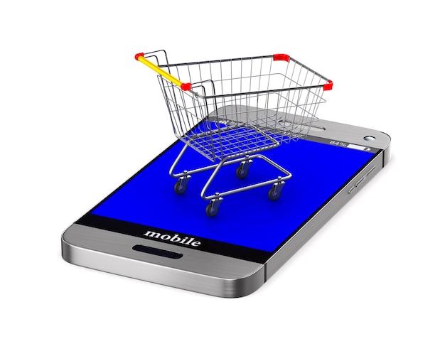Carrinho de compras e telefone no espaço em branco. ilustração 3d isolada
