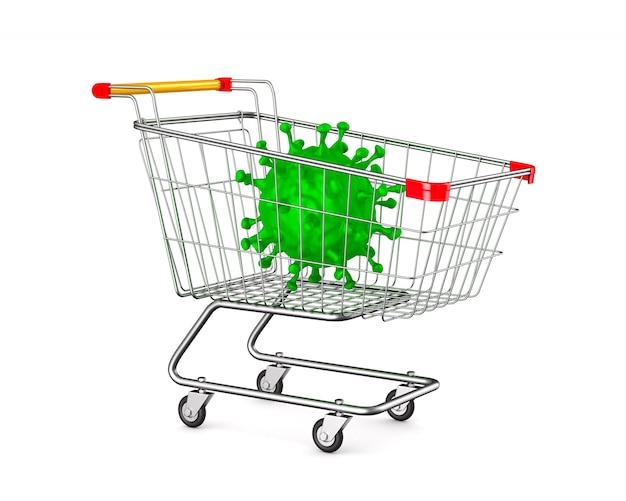 Carrinho de compras e vírus em branco.
