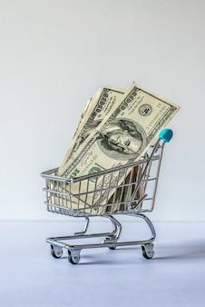 Carrinho de compras em miniatura cheio de notas de dólar em um fundo branco