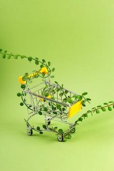 Carrinho de compras entrelaçado com brotos de plantas em fundo verde consumo consciente
