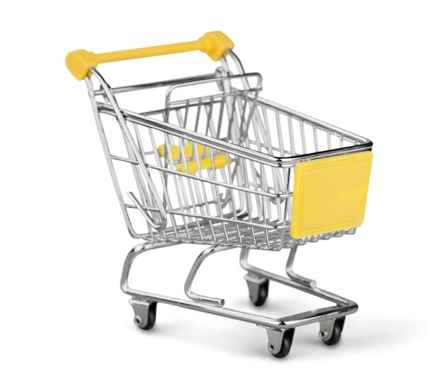 Carrinho de compras isolado no fundo branco.