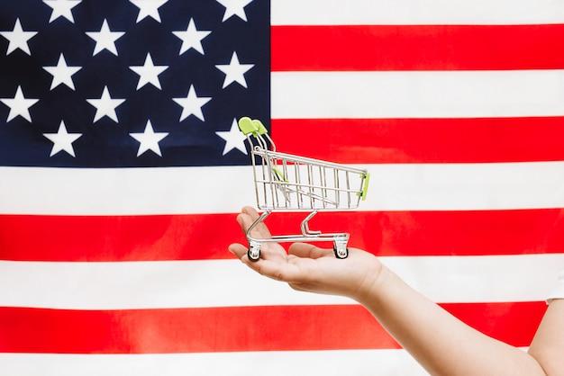 Carrinho de compras na bandeira americana