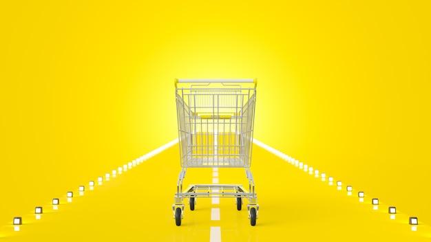 Carrinho de compras na estrada amarela