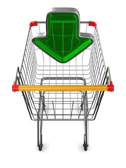 Carrinho de compras no espaço em branco. ilustração 3d isolada