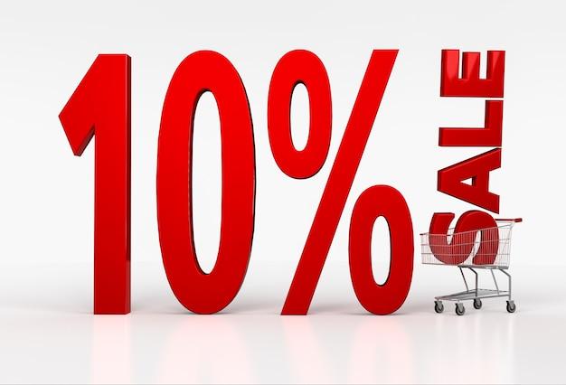 Carrinho de compras realista com sinal de desconto de dez por cento em branco. renderização 3d