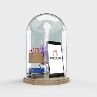 Carrinho de compras, sacolas de compras, caixa de presente, pacotes em uma cúpula de vidro é um marketing digital na internet. conceito de comércio eletrônico e negócios de marketing digital. renderização em 3d