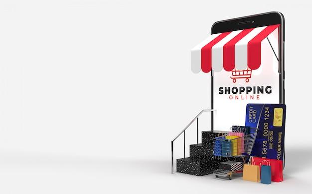 Carrinho de compras, sacolas de compras, cartão de crédito, suba as escadas e o tablet, que é um mercado digital na internet. conceito de marketing e marketing digital. renderização em 3d