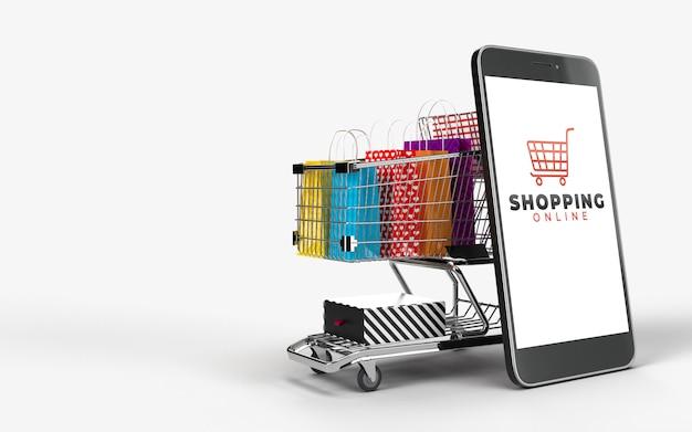 Carrinho de compras, sacolas de compras, e a caixa do produto e o telefone, que é um mercado digital da internet da loja online. conceito de comércio eletrônico e negócios de marketing digital. renderização em 3d