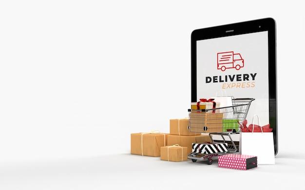 Carrinho de compras, sacolas de compras, e os pacotes de embalagem de papelão tablet on-line loja internet mercado digital. conceito de marketing e comunicação de marketing digital. renderização em 3d