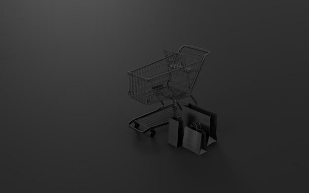 Carrinho de compras, sacolas de compras, que é um mercado digital da internet da loja online. conceito de comércio eletrônico e negócios de marketing digital. renderização em 3d