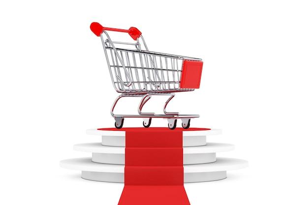 Carrinho de compras sobre o pedestal branco redondo com degraus e um tapete vermelho sobre um fundo branco. renderização 3d
