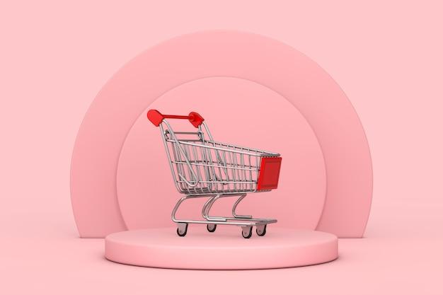 Carrinho de compras sobre pedestal de palco de produtos de cilindros rosa em um fundo rosa. renderização 3d