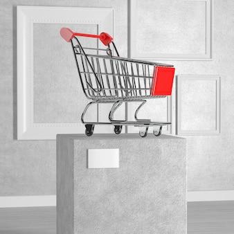 Carrinho de compras sobre pedestal, palco, pódio ou coluna na galeria de arte ou museu em um fundo branco. renderização 3d